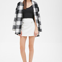 FOREVER 21 Faux Leather Zippered Skirt Cream