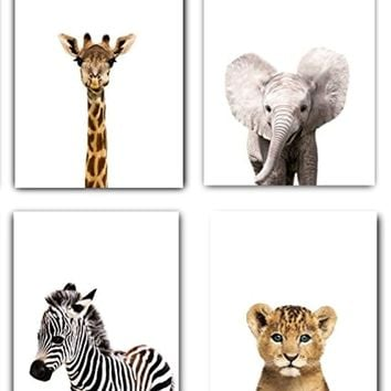 Safari Baby Animals Nursery Decor Art - Set of 4 UNFRAMED Wall Prints 8x10