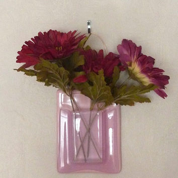 Pink Glass Wall Pocket Vase