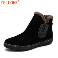 YELUOHK Snow Boots Men Plush Warm Winter Men Boots Black Brown