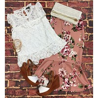 Cosmic Love Lace Top: White