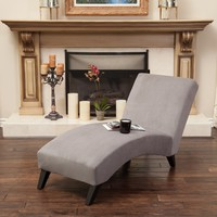 Cleveland Grey Fabric Chaise Lounge Chair