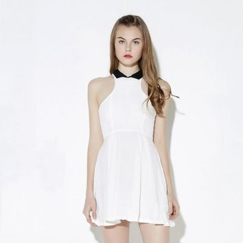 Summer western style fashion contrast color sleeveless off the shoulder woman's Casual a-line dress