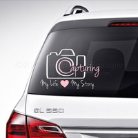 Capturing Life Story Scrapbooking Camera Car Decal Vinyl Lettering Bumper Sticker Laptop Decal photography Scrapbooking Camera Car Decal