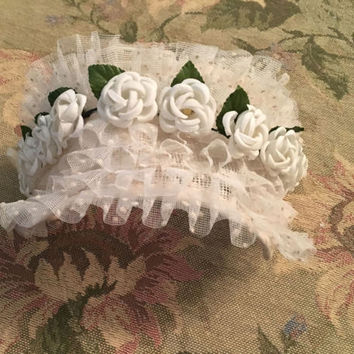 Vintage Wedding Headband, Polka Dotted White Lace with Flowers, Wedding Dress Accessory, Floral Bridal Headdress, Wedding Hair Accessory