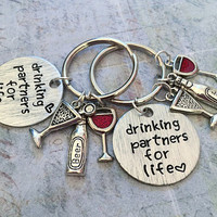 Drinking Partners For Life Deluxe Best Friends Keychains - Best Friends Keyrings - Drinking Partners Accessories - Alcohol, Parties,Sorority