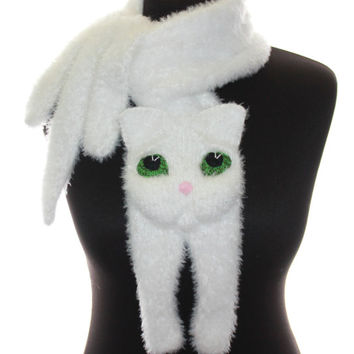 Knitted scarf / Fuzzy white Soft Scarf / cat scarf / knit cat scarf / white cat / animal scarf / valentines day