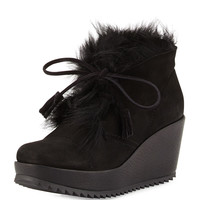 Fidela Fur-Lined Wedge Boot, Black - Pedro Garcia