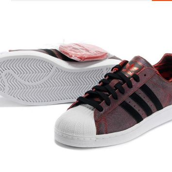 Adidas Fashion Shell-toe Flats Sneakers Sport Shoes Red brown
