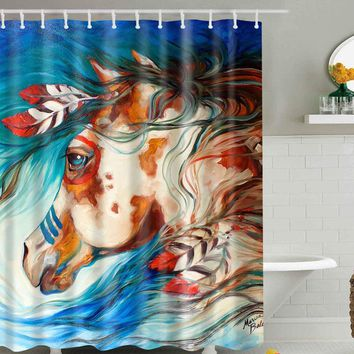Watercolor Horse Shower Curtain With 12 Hooks