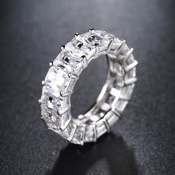 Platinum Plated Square Cut Cubic Zirconia Stackable Cocktail Eternity Band Ring