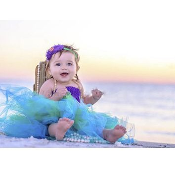 Handmade Party Girls Tutu Dress Cosplay Kids Little Mermaid Tulle Dress With Top Halloween Baby Girl Ball Gown Princess Costume