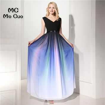 Top Quality 2017 In stock Evening Prom dresses Long with Pattern V-Neck Vestidos de fiesta Formal Chiffon Sashes Evening Dress
