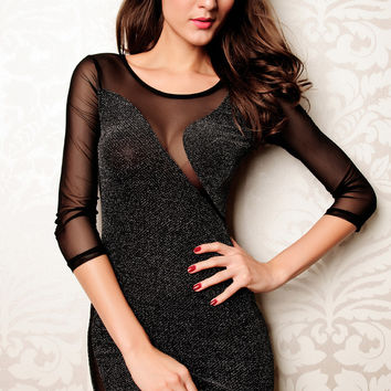 Black Glitter Sheer Sleeve Cut-Out Bodycon Mini Dress