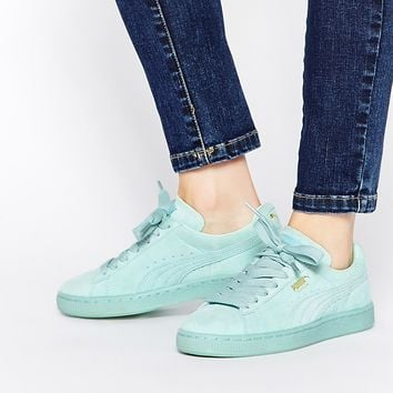 Puma Basket Suede Classic Mint Green Trainers at asos.com