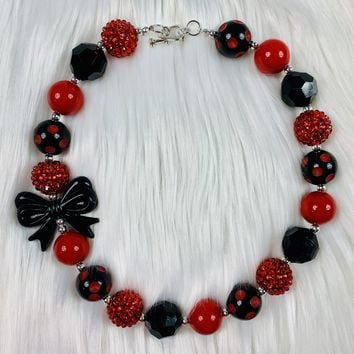 RTS Black & Red Bling Chunky Necklace