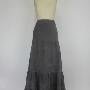 Anthropologie Maxi Skirt, Tiered Corduroy Skirt by Edme & Esyllte Size 8