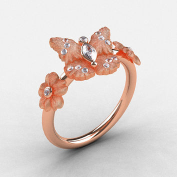 Natures Nouveau 18K Rose Gold White Sapphire Diamond Butterfly Wedding Ring, Engagement Ring NN116S-18KRGDWS