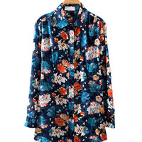 Navy Blue Floral Print Long-Sleeve Top With Collar