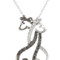 10k White Gold Black and White Diamond Giraffe Pendant Necklace (.09 cttw), 18""