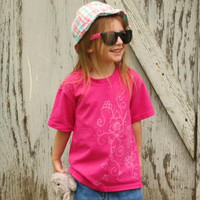 Hand drawn T-shrit, Child's size XS, hearts and flowers designs, bleach shirt, hot pink shirt