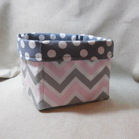 Pretty Gray, Pink and White Chevron Fabric Basket