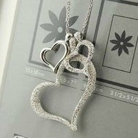 Shopping Princess — 3 Heart Silver Rhinestone Necklace