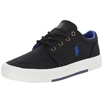 Polo Ralph Lauren Kids Faxon II Fashion Sneaker , Black/Black/Royal, 13 M US Little Kid