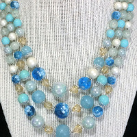 Blue Lucite Graduated Bead Necklace Made in Japan Multi Strand Faux Pearl Beads Mid Century Vintage Beaded Jewelry, Costume Jewellery 518