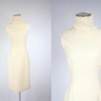 Authentic Dolce & Gabbana minimalist turtle neck ivory sleeveless 100% wool fitted pencil dress/ made in Italy/ size s - m