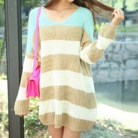 FASHION SPELL COLOR STRIPE LOOSE SWEATER Light Green