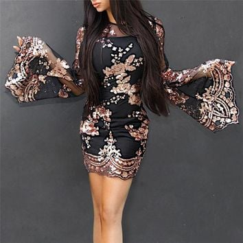 Two piece Gold Sequins embroidery Black mesh bodycon flare sleeve dresses