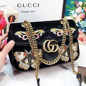 GUCCI Fashion New Embroidery Butterfly Velvet Chain High Quality Shopping Leisure Shoulder Bag Women Black