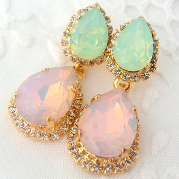 Pink opal and seafoam mint Chandelier earrings, Bridal earrings, bridesmaids gift, 14k Gold earrings, Dangle earrings, Rhinestone earrings