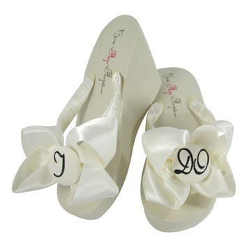 Black Sparkle Bridal Wedge or Flat Flip Flop Sandals - custom satin bows
