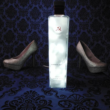 Frosted White LED Accent Lamp from Russian Vodka Bottle