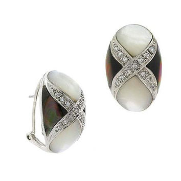 Sterling Silver .925 Genuine Gray & White Mother of Pearl  Stone Simulated Diamond  Earrings