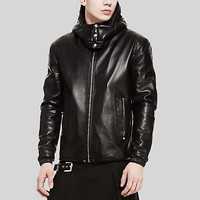 Versace - High neck hooded leather jacket