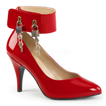 "Dream 432 Red Patent Ankle Cuff With Lock & Keys - 4"" Heels"