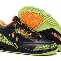 Cheap Nike Air Jordan 3 Retro Men Shoes Black Green Orange