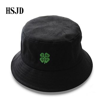 2018 New Hemp Leaf Embroidery Cotton Bucket Hat Fishing Caps Women Men Street Hip Hop Dancer Panama Cap Summer Outdoor Travel