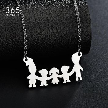 Love Jewelry Stainless Steel Boys Girl Mama Pendant Necklace Women Kids Family Member Necklace Children Gift