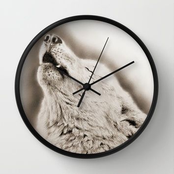 Wolf Wall Clock by Anna Shell