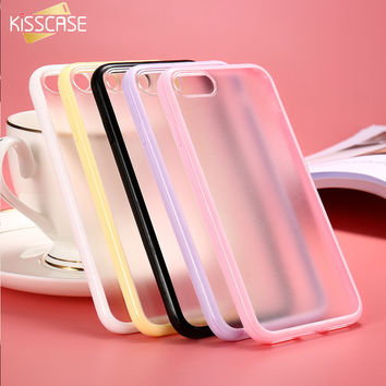KISSCASE Slim Colorful TPU Frame Clear Case For iPhone 6 6S 7 Plus Transparent Matte Hard Phone Back Cover For iPhone 6 6S Plus