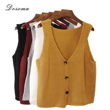 5 colors cardigan sweater vest 2016 fashion V-neck button sweater vest autumn/winter bottoming sweater vest grey sweater vest
