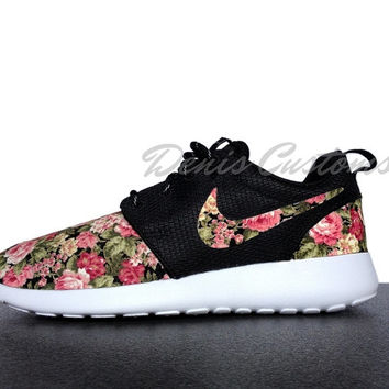 Nike Roshe Run One Black with Custom Floral Print