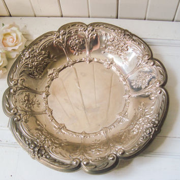 Ornate Decorative Metal Tray, Cottage Chic Floral Aluminum Metal Serving Tray, Farmhouse Tray, French Farmhouse Metal Dish, Silver Plate