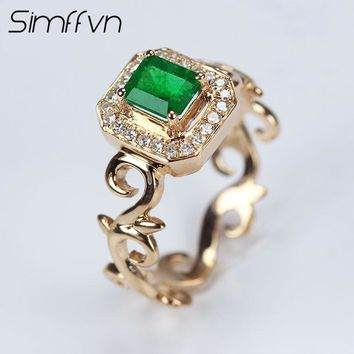 Simffvn 18K Rose Gold 0.5CT Emerald Rings For Women Engagement Ring Gemstone Bridal Ring Vintage Wedding Set