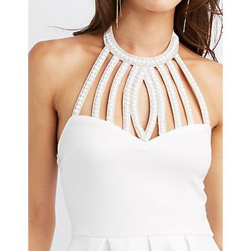 Embellished Bib Neck Skater Dress | Charlotte Russe