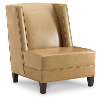 Carrie Leather Accent Chair, Nutmeg, Wingbacks